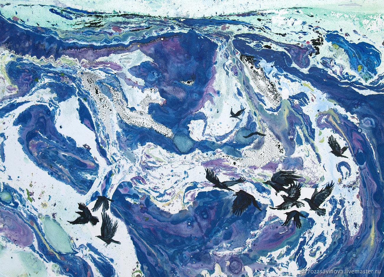 Картина Еще в полях белеет снег. Графика. Смешанная техника, Картины, Магнитогорск,  Фото №1