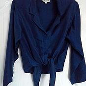 Одежда винтажная ручной работы. Ярмарка Мастеров - ручная работа Шёлковая блуза сапфирового цвета. Handmade.