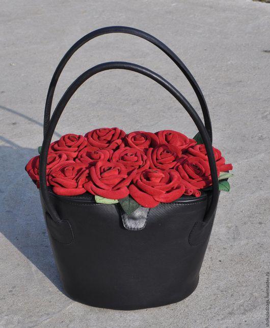 """Женские сумки ручной работы. Ярмарка Мастеров - ручная работа. Купить Кожаная сумка - """" Корзина с розами"""". Handmade."""