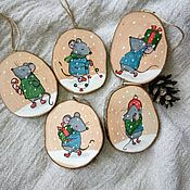 Елочные игрушки ручной работы. Ярмарка Мастеров - ручная работа Елочные украшения Мышки. Handmade.