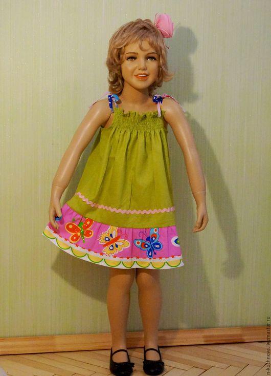 Одежда для девочек, ручной работы. Ярмарка Мастеров - ручная работа. Купить Детское платье с бабочками. Handmade. Разноцветный, сарафан летний
