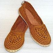 Обувь ручной работы. Ярмарка Мастеров - ручная работа Балетки вязаные Льняной шик, р.39.5, лен, оранжевый. Handmade.