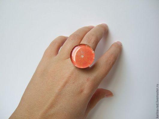 Кольца ручной работы. Ярмарка Мастеров - ручная работа. Купить Крупное Кольцо Оранжевый Сочный Апельсин Фрукт. Handmade.