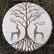 Музыкальные инструменты handmade. Livemaster - original item Tree of peace and deer. Drum leather. 25 cm. Drum leather. 25 cm. Handmade.