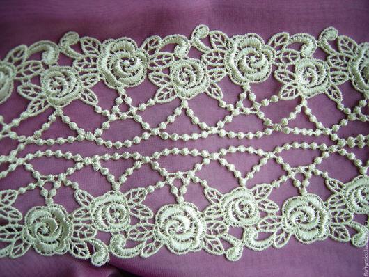 Кружево ` ожерелье из роз `  4,5см Цвет желтовато-белый. Мягкое, пластичное, разной толщины Для отделки и декора одежды, создания украшений