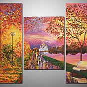Картина триптих - Осенний вечер. Масло, холст