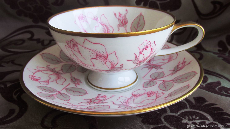 Tea pair Porcelain Hand painted Rosenthal Germany 1953-1956, Vintage mugs, Prague,  Фото №1