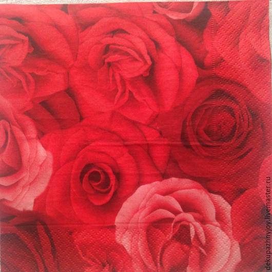 Страстные красные розы Салфетка для декупажа Декупажная радость