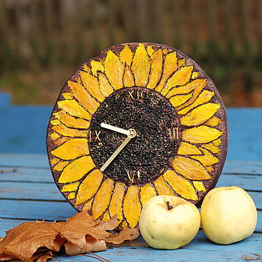 Для дома и интерьера ручной работы. Ярмарка Мастеров - ручная работа Часы настенные  Подсолнух в резерве. Handmade.