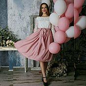 Одежда ручной работы. Ярмарка Мастеров - ручная работа Платье миди из кружева и пудрового шифона. Handmade.