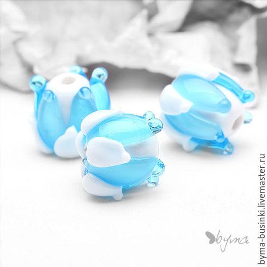 Бусины бутоны лэмпворк голубые купить