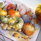 Картины и панно handmade. Livemaster - original item Autumn gifts watercolor Painting (yellow orange pumpkin). Handmade.