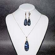 Украшения handmade. Livemaster - original item Pendant and earrings made of natural blue stone variscite. Handmade.