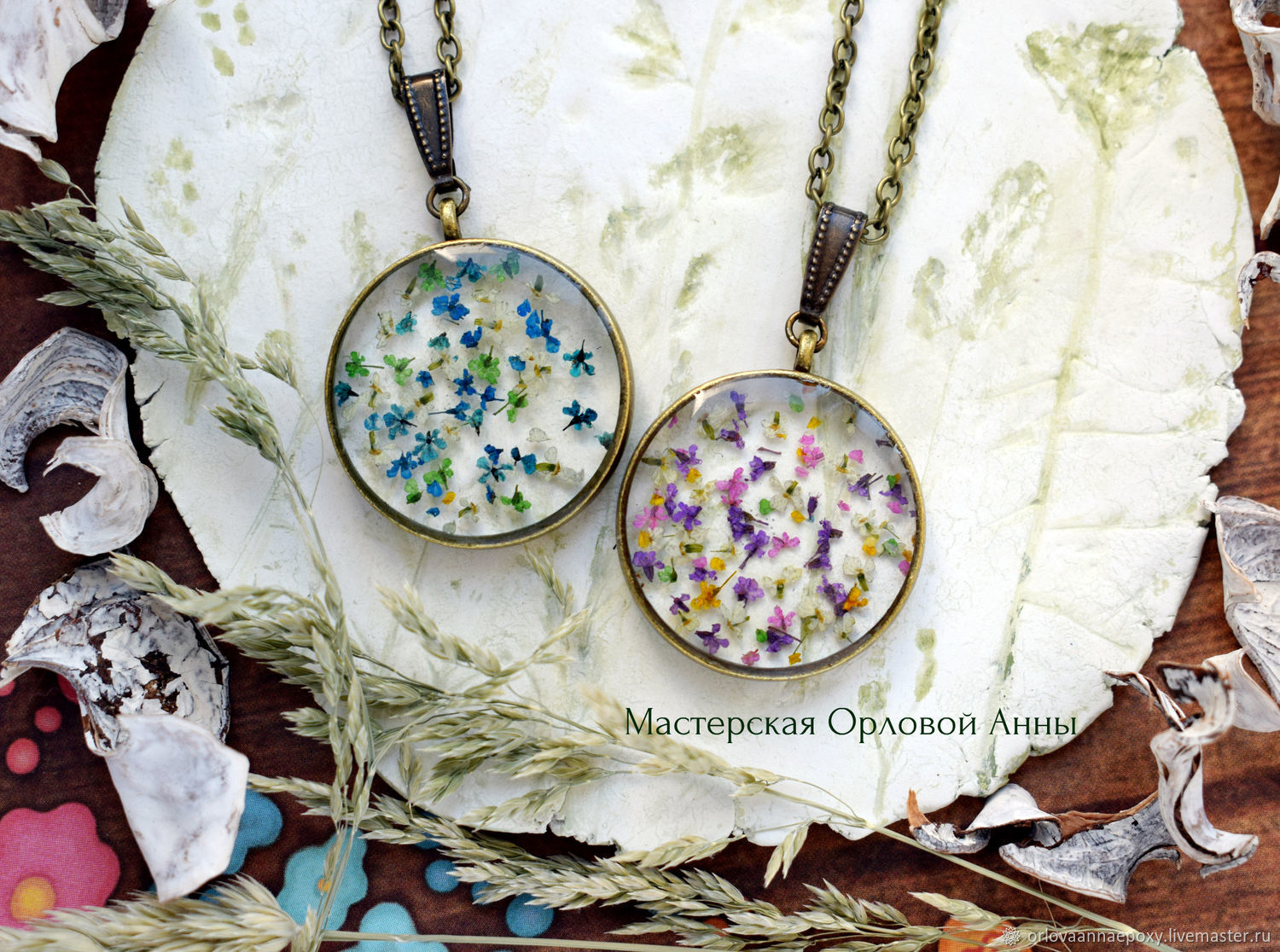 The pendant is made of resin with real flowers 'Colorful summer', Pendants, Engels,  Фото №1
