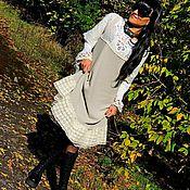 Одежда ручной работы. Ярмарка Мастеров - ручная работа Ажурное БОХО платье из хлопка и льна с кружевом (№201). Handmade.