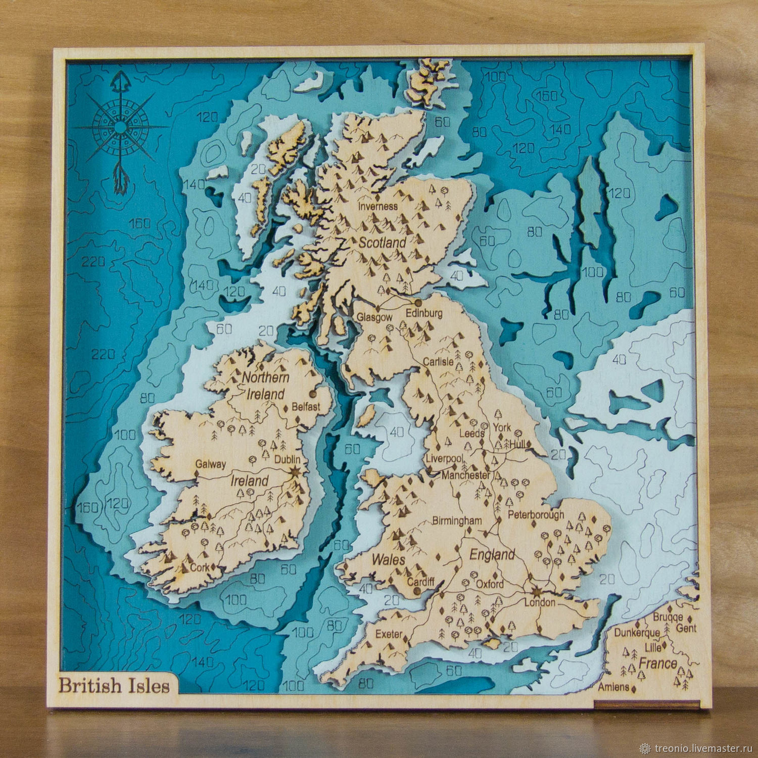 Map of England and Ireland in wood. British Isles, Pictures, St. Petersburg,  Фото №1