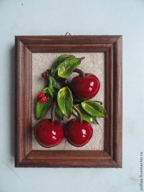 """Картины цветов ручной работы. Ярмарка Мастеров - ручная работа. Купить """"Вишенки"""" - панно, полимерная глина, картина. Handmade."""
