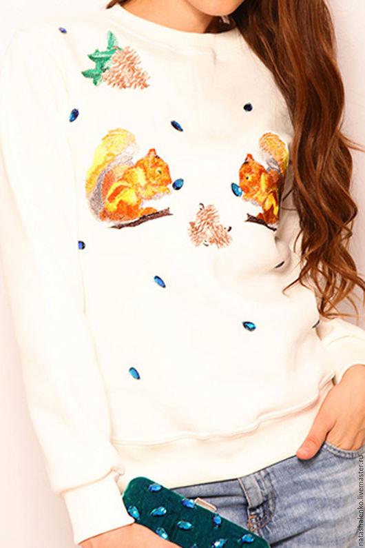 """Кофты и свитера ручной работы. Ярмарка Мастеров - ручная работа. Купить Свитшот """"Белочки"""". Handmade. Белый, камнями"""