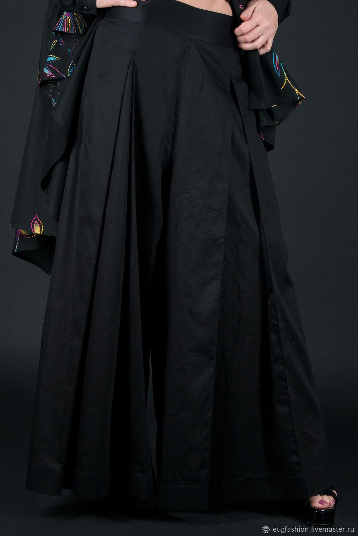 Wide cotton pants, Black pants - PA0130CT, Pants, Sofia,  Фото №1