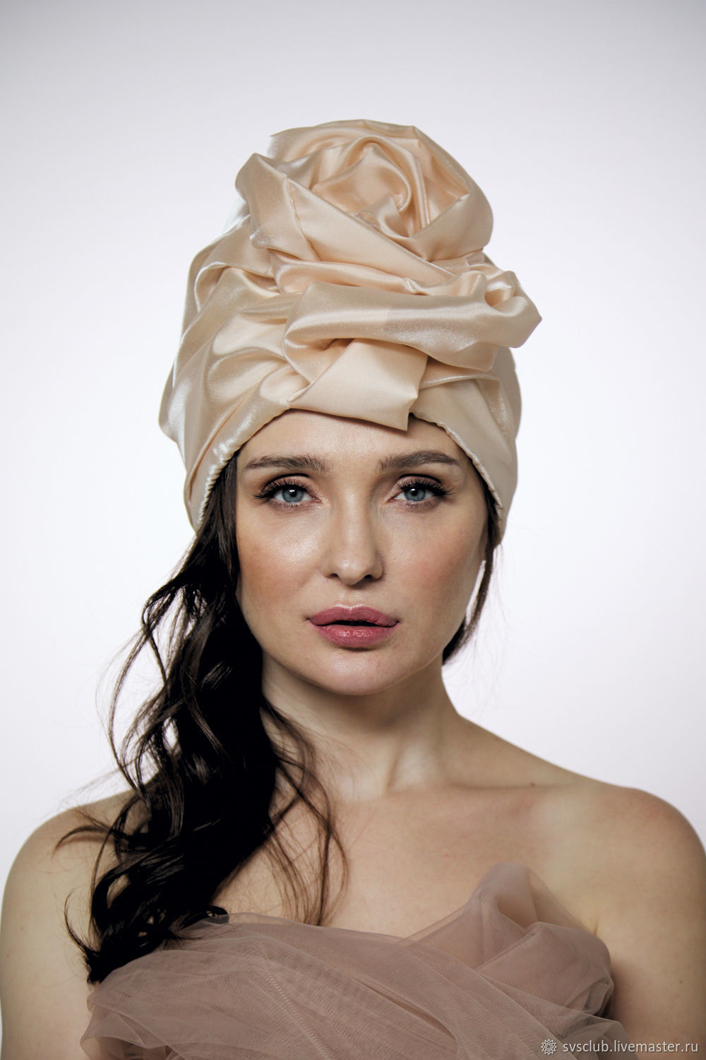 Creme brulee silk organza turban with a bead Pearl, Caps, Moscow,  Фото №1