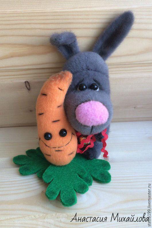 Мишки Тедди ручной работы. Ярмарка Мастеров - ручная работа. Купить Серый зайка и морковка. Handmade. Комбинированный, тедди друзья