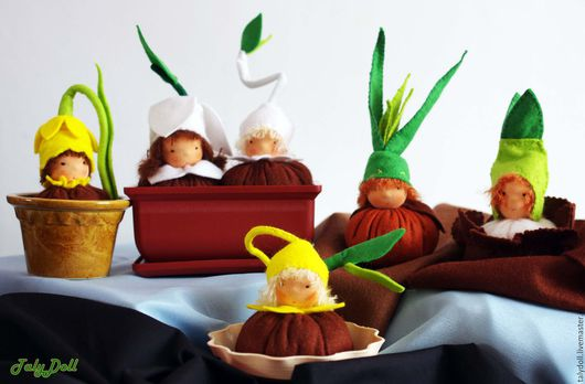 Вальдорфская игрушка ручной работы. Ярмарка Мастеров - ручная работа. Купить Малыши-корешки. Handmade. Коричневый, цветы, весенние цветы