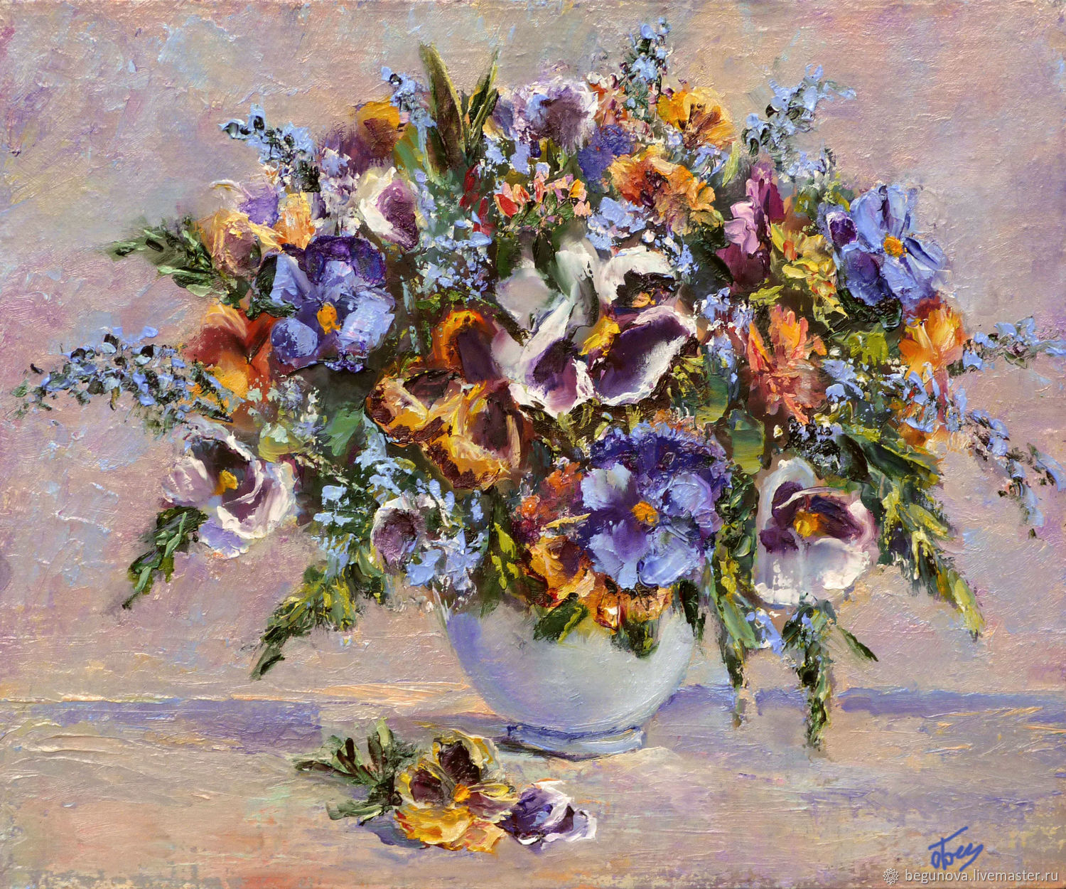 Oil painting on canvas pansies, violets painting, Pictures, Krasnodar,  Фото №1