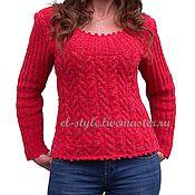 Одежда ручной работы. Ярмарка Мастеров - ручная работа Красно-коралловый пуловер. Handmade.