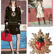Материалы для творчества handmade. Livemaster - original item Applique Golden Strawberry 26h23 cm embroidered with sequins and beads. Handmade.
