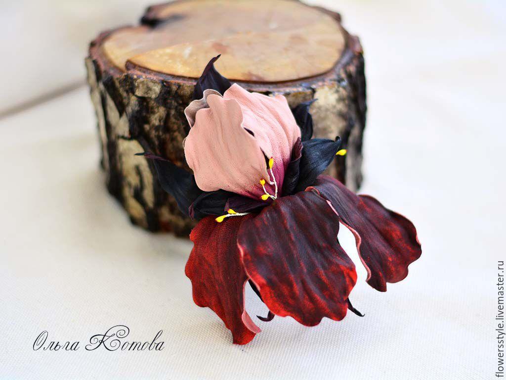 flower brooch iris leather luxury marsala, Brooches, Kursk,  Фото №1