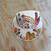 """Посуда ручной работы. Ярмарка Мастеров - ручная работа Чайная пара """"Старинный город"""". Handmade."""