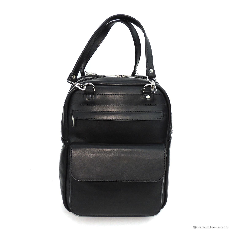 d12995cdc7fe ... Рюкзаки ручной работы. Сумка-рюкзак черная кожаная 'Монте'. Калиновская  Наталья Рюкзаки ...