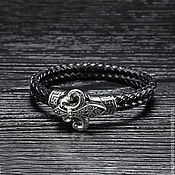 Украшения handmade. Livemaster - original item Bracelet in leather and steel unisex Royal lily. Handmade.