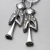 Подарки к праздникам ручной работы. Ярмарка Мастеров - ручная работа Звёздный Музыкант кулон из серебра с обезьянкой. Handmade.
