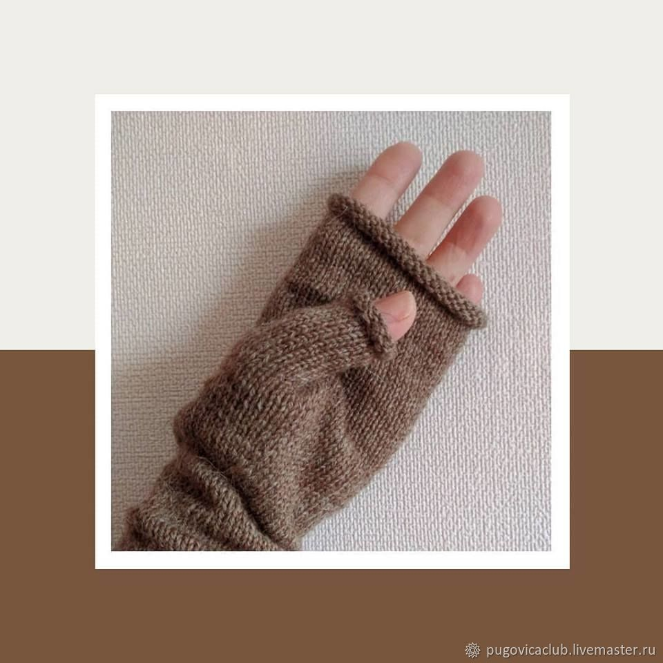 Stockinette knit fingerless gloves Hand Warmers, Mitts, Orenburg,  Фото №1
