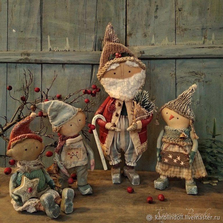 Коллекционные куклы ручной работы. Ярмарка Мастеров - ручная работа. Купить Снежные человечки. Handmade. Дед мороз, снеговичок, гномики