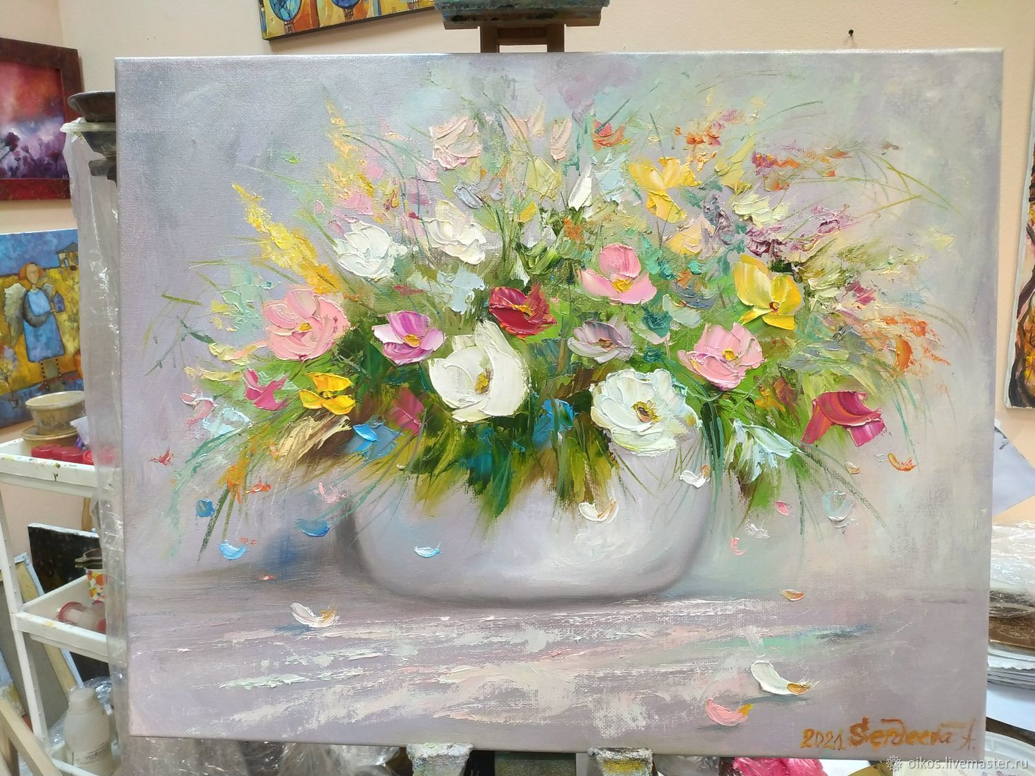 Oil painting flowers with a palette knife. The picture is in pastel tones, Pictures, St. Petersburg,  Фото №1