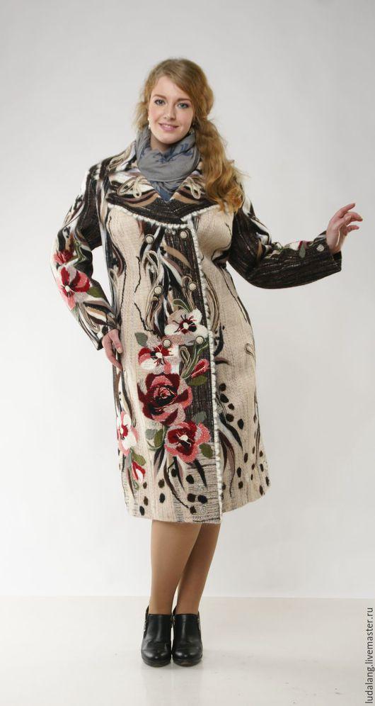 Большие размеры ручной работы. Ярмарка Мастеров - ручная работа. Купить Пальто большого размера Сударыня РЕЗЕРВ. Handmade. Бордовый