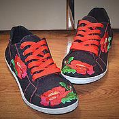 Обувь ручной работы. Ярмарка Мастеров - ручная работа Кеды с вышивкой. Handmade.