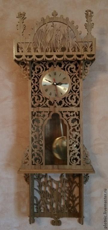 Часы для дома ручной работы. Ярмарка Мастеров - ручная работа. Купить Настенные часы с маятником. Handmade. Коричневый, часы с маятником