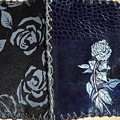 """Канцелярские товары ручной работы. Ярмарка Мастеров - ручная работа Кожаная обложка """"Ночная роза"""". Handmade."""