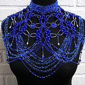 Украшения handmade. Livemaster - original item Blue large shoulder necklace Big navy beaded bib. Handmade.