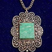 Винтаж handmade. Livemaster - original item Pendant-pendant vintage USSR metal pendant AMAZONITE 1960s g.. Handmade.