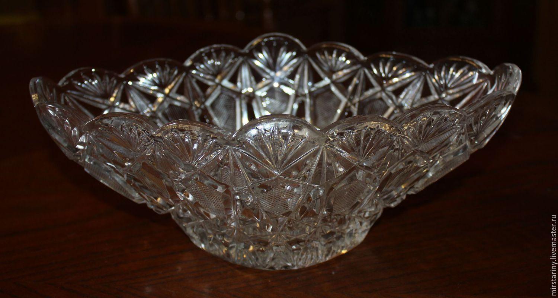 Crystal vase, rook, handmade, Czechoslovakia, 1970s, Vintage interior, Moscow,  Фото №1