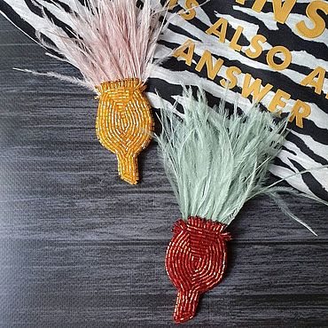 Украшения ручной работы. Ярмарка Мастеров - ручная работа Брошь с перьями. Handmade.