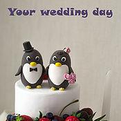 Свадебный салон ручной работы. Ярмарка Мастеров - ручная работа Фигурки на торт (пингвины. Handmade.