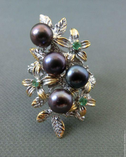 Кольца ручной работы. Ярмарка Мастеров - ручная работа. Купить 16,5 р-р Кольцо цветы с жемчугом, изумрудом серебро 925 золото. Handmade.