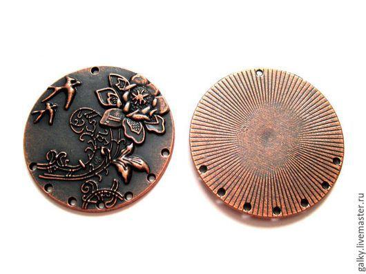 Для украшений ручной работы. Ярмарка Мастеров - ручная работа. Купить Коннектор круглый с цветком 1 к 7 античная медь 48мм. Handmade.