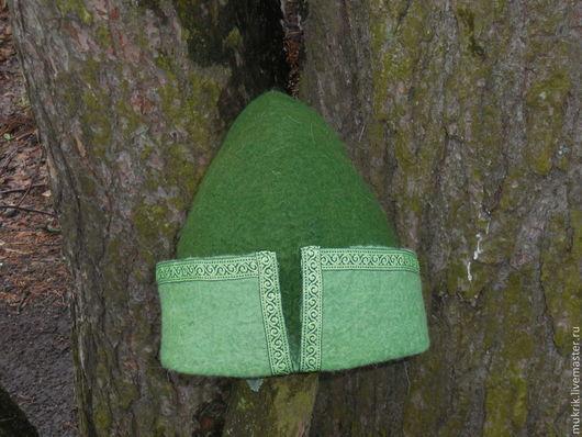 """Банные принадлежности ручной работы. Ярмарка Мастеров - ручная работа. Купить шапка для  бани """"Царевич"""". Handmade. Зеленый, банная шапка"""