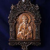 """Иконы ручной работы. Ярмарка Мастеров - ручная работа Икона """"Св. Спиридон Тримифунтский""""-  резная икона из дерева. Handmade."""